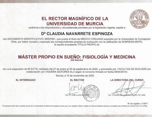 Dra. Navarrete realiza post grado en Fisiologia y medicina del Sueño