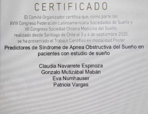 """Dra. Navarrete realiza trabajo científico """"Predictores de Síndrome de Apnea Obstructiva del Sueño en pacientes con estudio de sueño"""""""